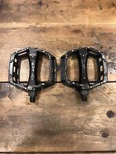 "GT Stamped BMX Bicycle Platform Pedals Black 1/2"" Mid School 2001"