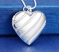 "925 Sterling Silver Women's Heart Photo Locket And 18"" Link Chain Necklace D647A"