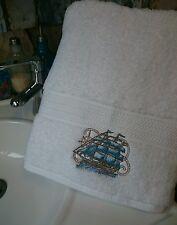 beautifully embroidered nautical BATH TOWEL, beach, seaside,