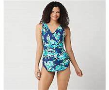 Denim & Co. Beach Surplice One-Piece Swimsuit Blue Size 16 A350357
