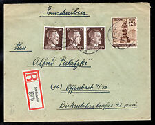 Germany Registered Mixed Franking Cover three Sc #512 & B270 8/11/44 Steinheim