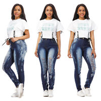 WOMENS PLUS SIZE Destroy Distressed RIPPED BLUE SKINNY DENIM JEANS PANTS
