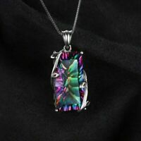 Mystic Topaz Solid 925 Sterling Silver Women Jewelry Gems Necklace Pendant SP019