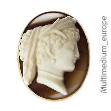 Historismus Brosche Achat Kamee Gemme Gelb gold 14ct 585 gold brooch agate cameo