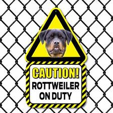 Rottweiler Dog Sign,  Outdoor Caution Rottweiler Sign, Funny Dog on Duty Sign