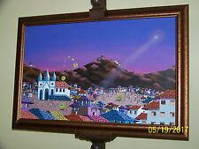 Surrealism Fantastic Detail Original Oil On Canvas Listed Artist Mercedes