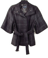 Banana Republic Women Bell Sleeve Black Plaid Wool Peacoat Jacket Size S RN54023
