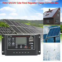 40A 12V/24V Solar Panel Battery Regulator Charge Controller PWM 4-Stage Dual USB