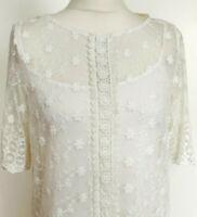M & Co Ladies White 2 Pieces Floral Lace Crochet Trim Blouse Top Size UK 14