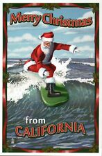 Merry Christmas from California Santa Claus Surfing Suit & Hat - Modern Postcard