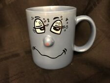 Atico International blue happy smiley face Tipsy 3D nose coffee mug cup
