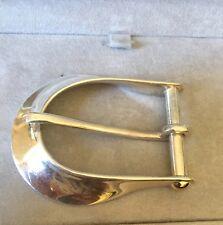 Large Belt Buckle Sterling Silver & 14K Y. Gold Screws High Polish 78g Signed