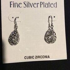 Fine Silver Plated diamond cut tear drop earings