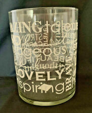 Wide Clear Glass Vase with White Inspiring Words in Different Fonts