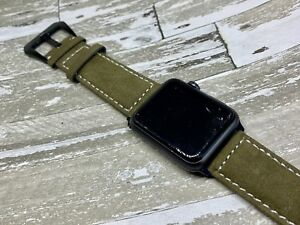 Vintage Suede Leather Watch Strap Apple Series 1 2 3 4 iWatch 42mm Olive Green