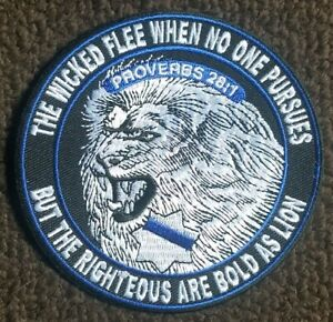 Wicked Flee When No One Pursues LION Thin Blue Line Law Enforcement Police Patch