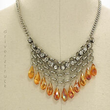 SIMPLY VERA WANG Iridescent AMBER Tear Drop BEADS NECKLACE Simulated CRYSTALS