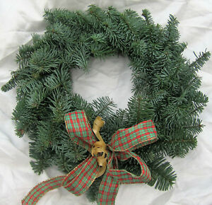 """Fresh Christmas Plain Pine Ring Wreath Decoration 12"""" natural foliage with bow"""