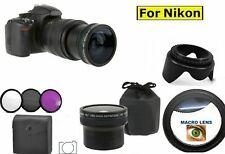 8K 55MM 0.18x HD FISHEYE WIDE ANGLE LENS +HD FILTER KIT + HOOD FOR NIKON D3500