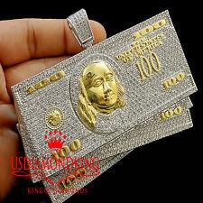 WHITE LAB DIAMOND MENS CUSTOM PIECE $100 BILLS STACKS MONEY BIG XL PENDANT CHARM