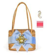 Bosom Buddy Savannah Bag in Tan w/ Pink & White Stripe Bow & Seahorse Charm, New