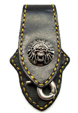 Biker Skull Indian Trucker Gold Stitch Leather Belt Clip Keychain Key Holder