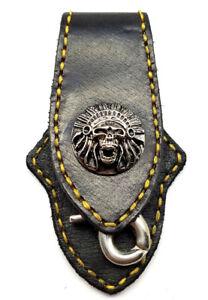 Biker Skull Indian Trucker Gold Stitch Leather Belt Clip Keychain Key Holder