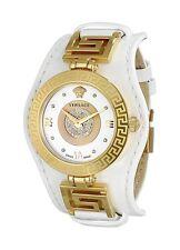 Versace Women's  VLA050014 V-SIGNATURE DIAMOND Gold IP Steel White Leather Watch