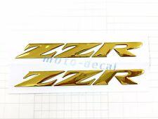 Raised 3D Chrome Kawasaki  ZZR ZZR1400 ZZR1200 Emblem Gold Decal Bling Sticker