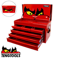 Teng Tools Red Toolbox Top Box Storage Chest Ball Bearing Slides 6 Drawer