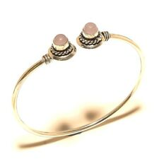 Lavish Silver Plated Rose Quartz Cuff Bracelet Bangel Gemstone Jewelry