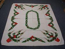"3 VINTAGE MATCHING CHRISTMAS TABLECLOTHS w CUTE CHRISTMAS TREE CORNERS 53"" X 64"""