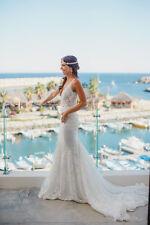V Neck Lace Beach Wedding Dress Bohemian White 2016 Hot Bridal Gown 4 6 8 10 12+