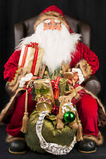 """31"""" Santa Claus Sitting in Arm Chair Throne Christmas Figure Decoration Display"""