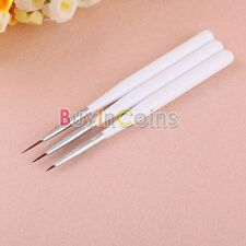 3 PCS Acrylic French Nail Art Liner Painting Drawing Pen Brush Brushes Tools Fun