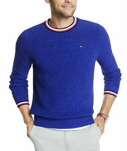 Tommy Hilfiger Mens Sweater Blue Size Medium M Crewneck Geneva Tipped $89 #179