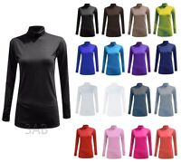 Womens Ladies Polo Stretch Roll High Neck Long Sleeves Turtle Neck Top Shirt Tee