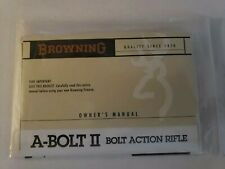 Browning A-Bolt Ii Bolt Action Rifle Instruction Owners Manual Original New