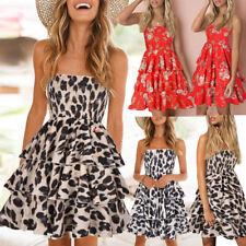 Women Summer Off Shoulder Beach Party Dress Lady Boho Mini Swing Tube Top Dress