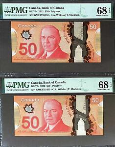 Canada Polymer 2 CONSECUTIVE $50 Wilkins/Macklem GME BC-72c S GEM UNC PMG 68 EPQ