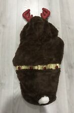 Reindeer Pet Dog Costume Coat Size Large Brown Antlers Jingle Bells