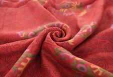Vintage Saree Indian Art Silk Printed Floral Antique Craft Sari Fabric Red Sari