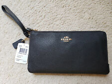 NWT Coach DOUBLE ZIP WALLET wristlet, Polished Pebbled Leather BLACK 54052
