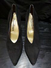 Black Suede Vintage Yves Saint Laurent Pumps Heels 10 M Italy