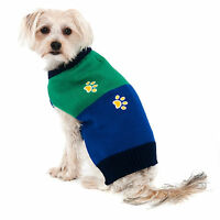 NEW Size XS (Runs Small) Blue Green w Paws Dog Sweater Clothes Fashion Pet