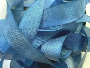 """Silk Hand Dyed 7/16"""" Ribbon 1yd Made in USA Blue Jeans"""