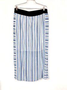 ANN TAYLOR  maxi skirt lightweight L NWT $99 Blue White Stripes Summer Lined