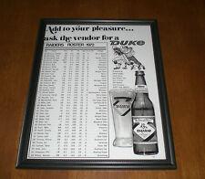 1972 OAKLAND RAIDERS ROSTER FRAMED DUKE BEER AD