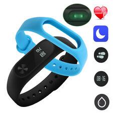 Xiaomi Mi Band 2 Smart Wrist Band Bracelet Heart Rate OLED Touchpad +Blue Straps