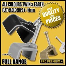 Flat Plastic Cable Clips Nail Wall Tacks Clamps Electrical Cables Wires 1-10mm